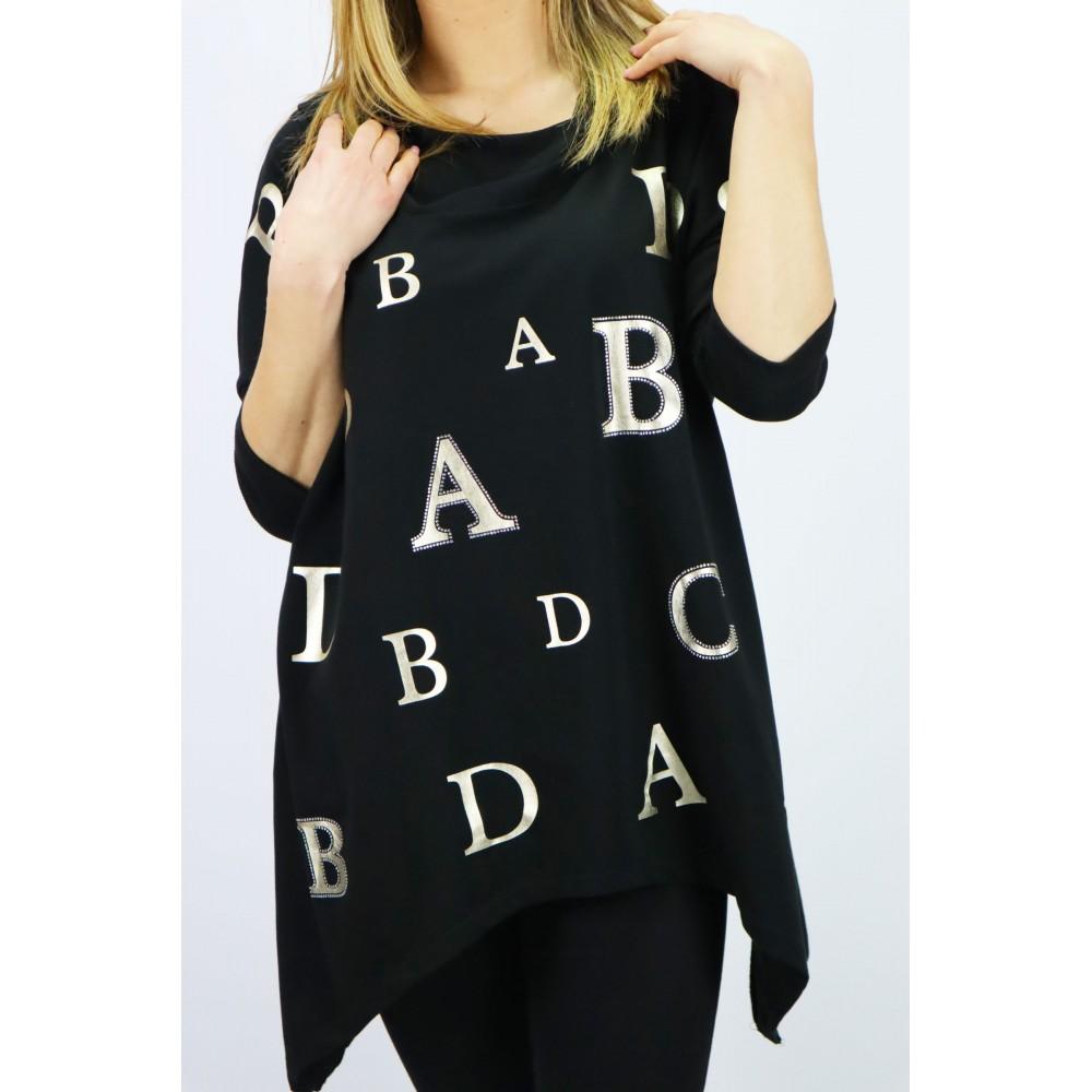 Czarna bluza damska Megi z kapturem i grafikami złotych liter ABCD