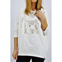 Biały longsleeve damski Megi z napisem INVITE of fashion