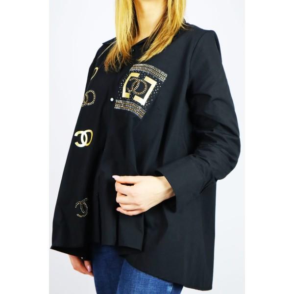 Czarna koszula damska oversize ze złotymi grafikami
