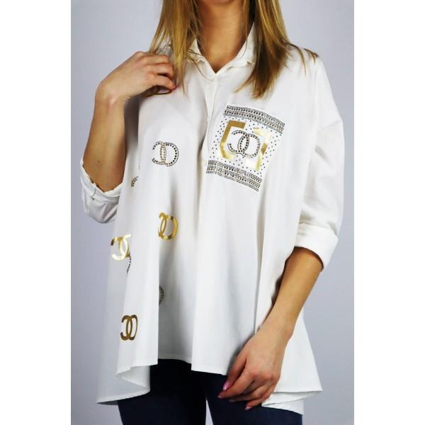 Biała koszula damska oversize ze złotymi grafikami