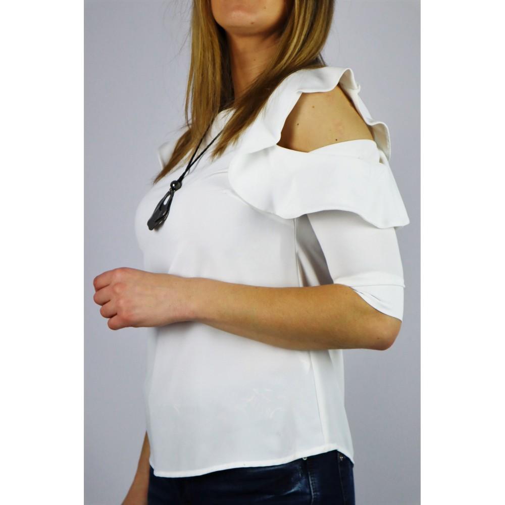 Biała koszula damska z rozciętym krótkim falowanym rękawem