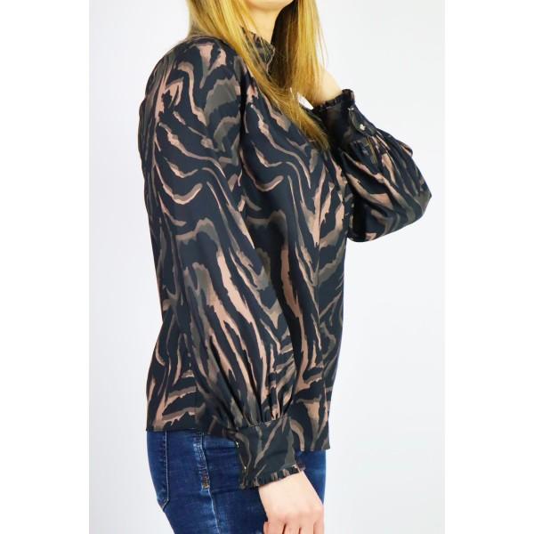 Wzorzysta czarno-brązowa koszula damska z ozdobnymi guziczkami