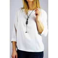 Biała koszula damska z rękawem 3/4 i lamówkami