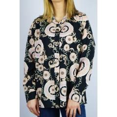 Czarna wzorzysta koszula damska oversize