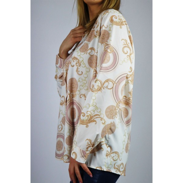 Biała wzorzysta koszula damska oversize w złote grafiki