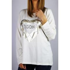 Biały longsleeve damski z grafiką serca i napisem ICON