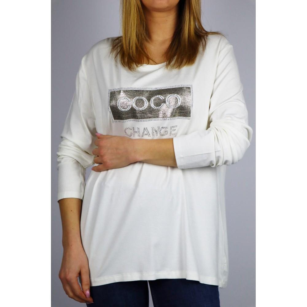 Biały longsleeve damski z napisem COCO change in Paris