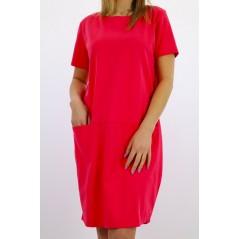 Różowa sukienka MEGI basic damska z kieszeniami z przodu