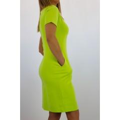 Limonkowa sukienka damska MEGI z kieszonkami