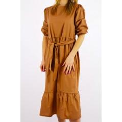 Sukienka damska koszulowa midi w kolorze camel z szarfą w pasie