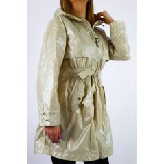 Płaszcz damski z kapturem w połyskującym beżowym odcieniu