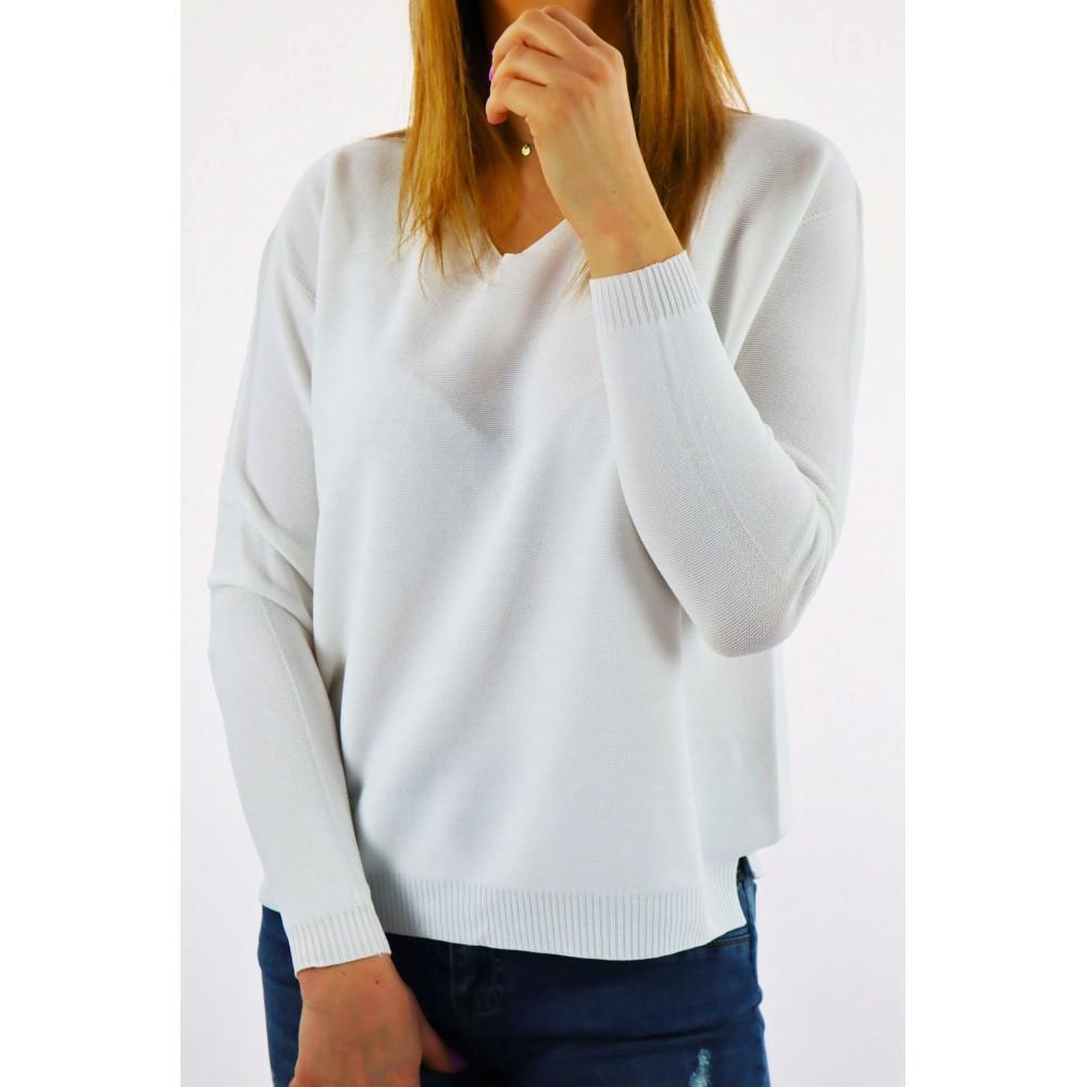 Biały damski sweter z małym...