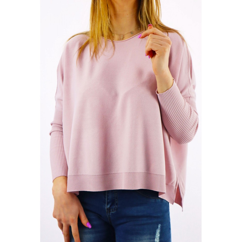 Pudrowy sweter damski ze...