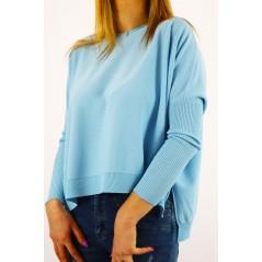 Błękitny sweter damski ze ściągaczami na rękawach oversize