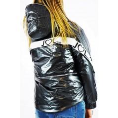 Czarna kurtka damska z kapturem,  taśmami i napisem