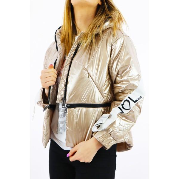 Miedziana kurtka damska z kapturem,  taśmami i napisem