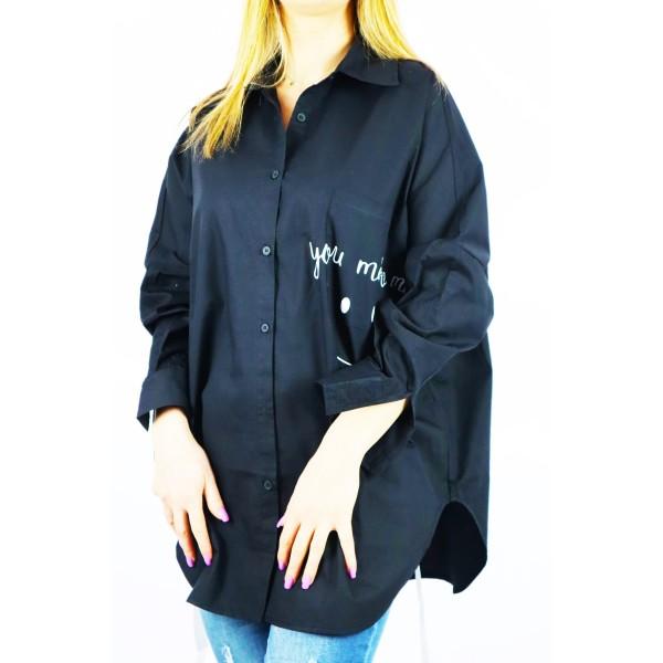 Czarna koszula damska oversize z napisem You make me :)
