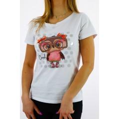 Biały t-shirt damski z grafiką laleczki i perełkami z tyłu