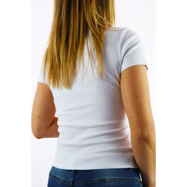 Biały t-shirt damski z grafikami panterkowych mokasyn i napisem Smile