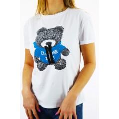 T-shirt damski z grafiką czarno-niebieskiego misia