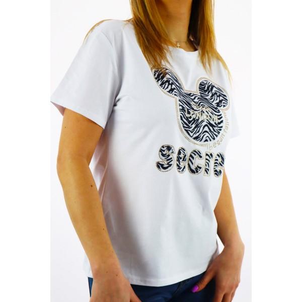 T-shirt damski biały z zebrową grafiką Miki i napisem secret