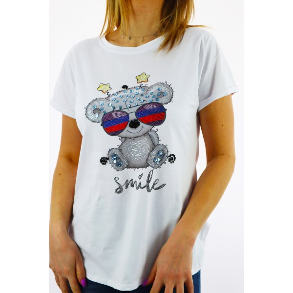 T-shirt damski oversize z kolorowym misiem
