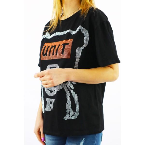 Czarny t-shirt damski oversize z misiem xxl i napisem UNIT