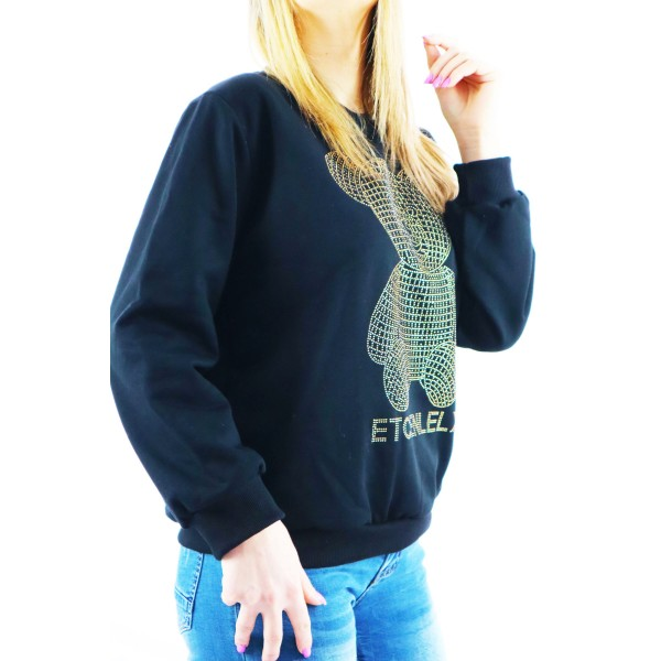 Bomberka bluza damska w czarnym kolorze z dżetowym misiem