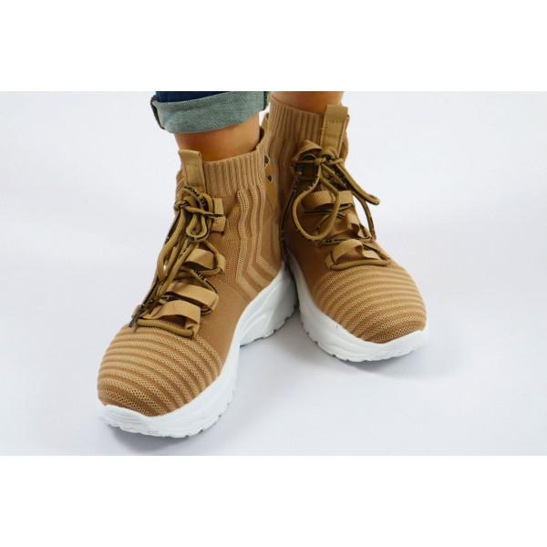 Wysokie sneakersy damskie materiałowe kolor camel