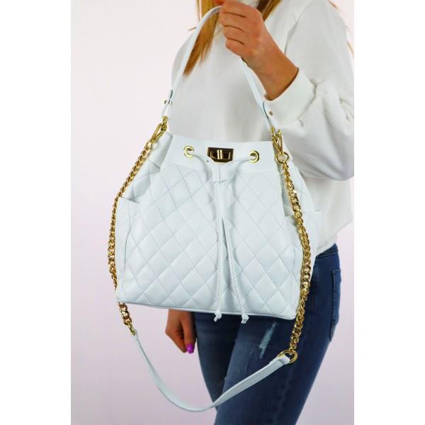 Duża biała pikowana damska torebka ze złotym łańuszkiem