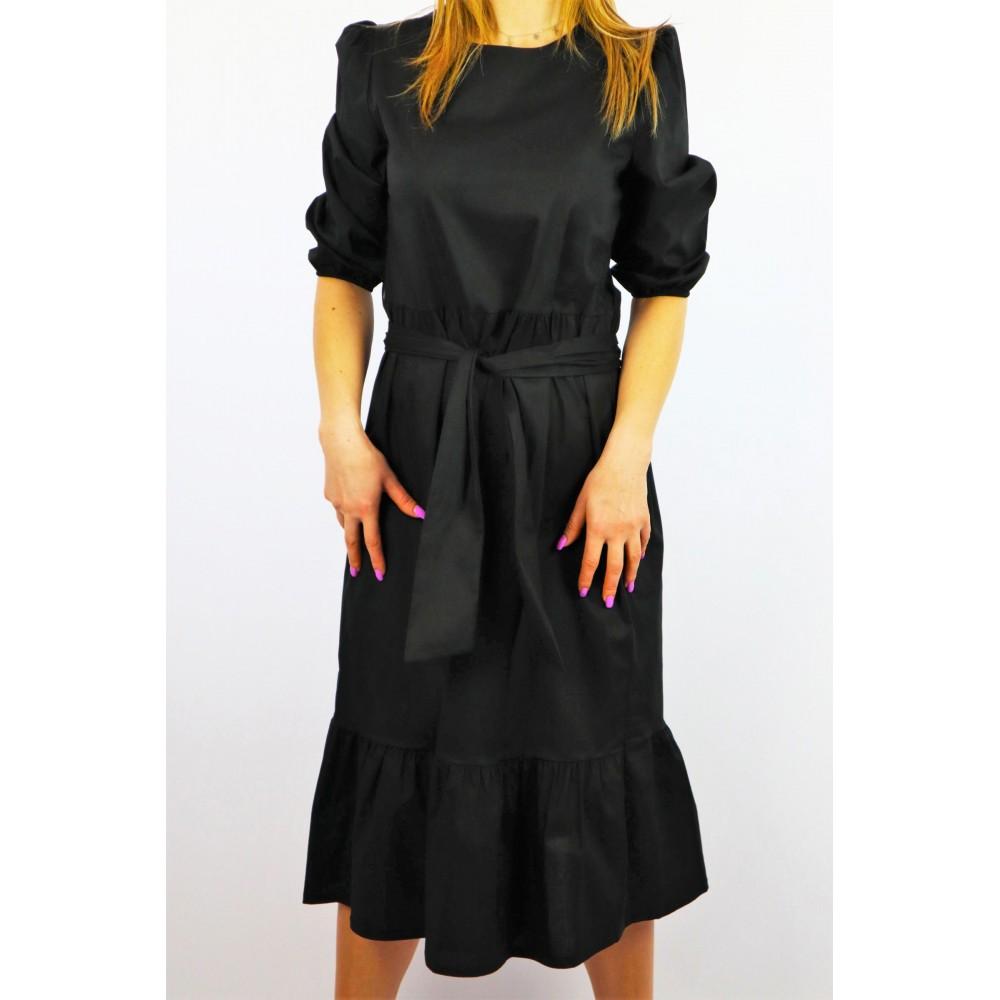 Sukienka damska o długości 7/8 koszulowa z szarfą czarna