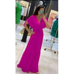 Maxi różowa sukienka wieczorowa damska