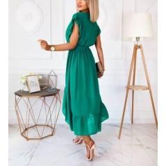 Zielona kopertowa sukienka damska asymetryczna