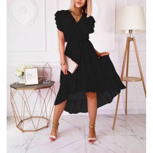 Czarna kopertowa sukienka damska asymetryczna