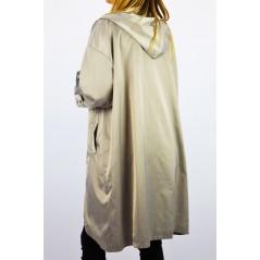 Płaszcz wiosenny damski w tonacji szarości z kapturem oversize