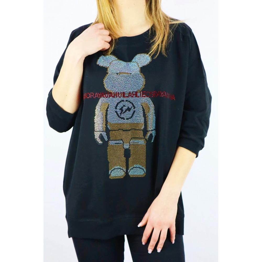 Czarna bluza damska MEGI z kolorowym dżetowym misiem