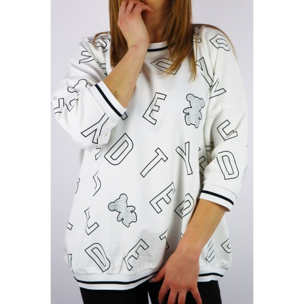 Biała bluza damska MEGI z grafikami i lamówkami