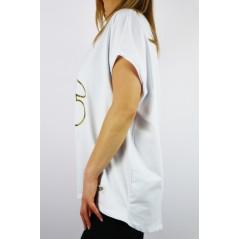 T-shirt damski biały MEGI oversize ze złotym misiem