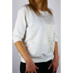 Bluza damska biała MEGI z dżetowym misiem i cyframi