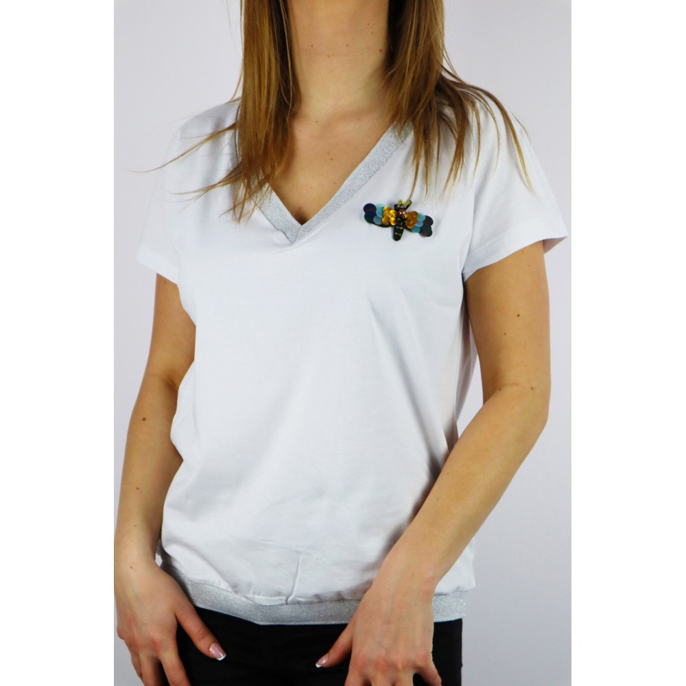 T-shirt damski MEGI z dekoltem V, lamówką i ważką