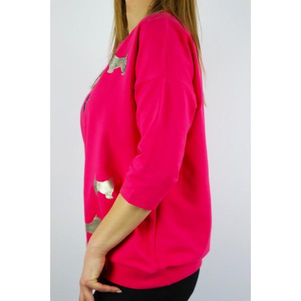 Bluza damska MEGI w kolorze fuksji z grafikami psów