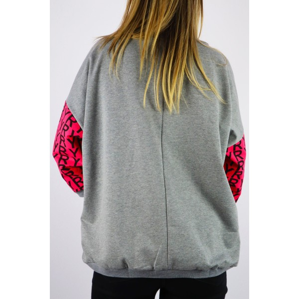 Szara bluza damska MEGI oversize z kolorowymi grafikami