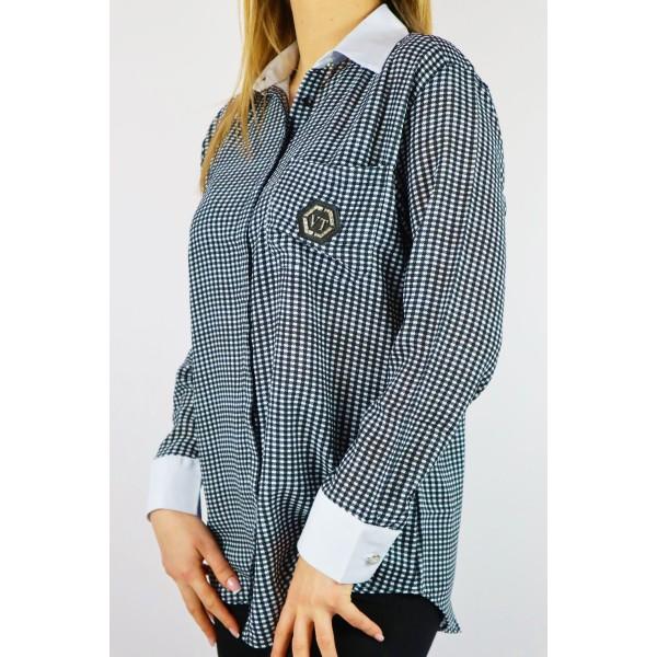 Koszula w kratkę damska MEGI z białymi dodatkami