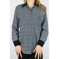 Koszula damska MEGI w kratę z czarnymi dodatkami