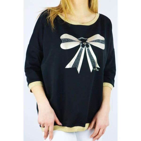 Czarna bluza damska MEGI z dużą kokardą i lampasami
