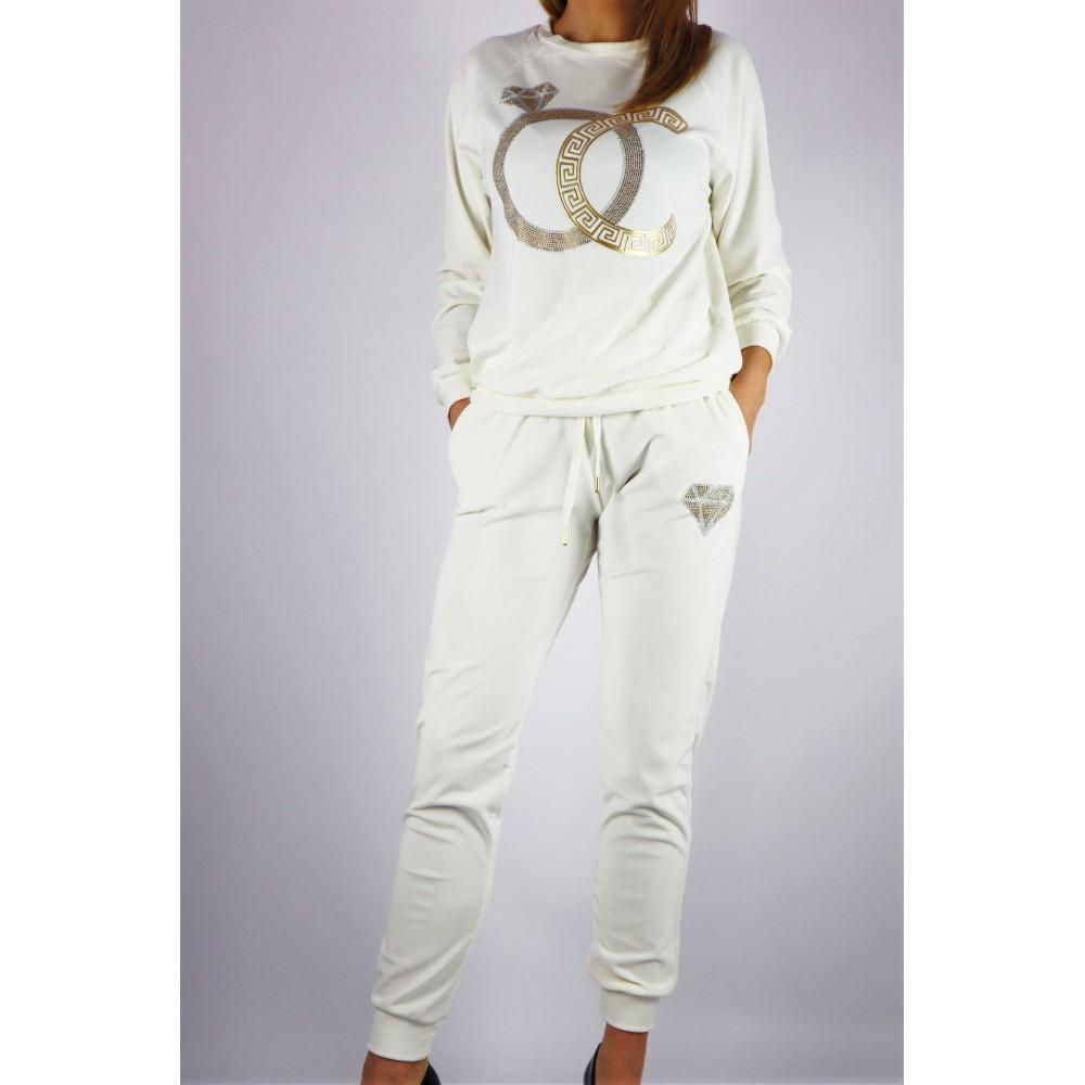 Welurowy biały komplet dresowy damski