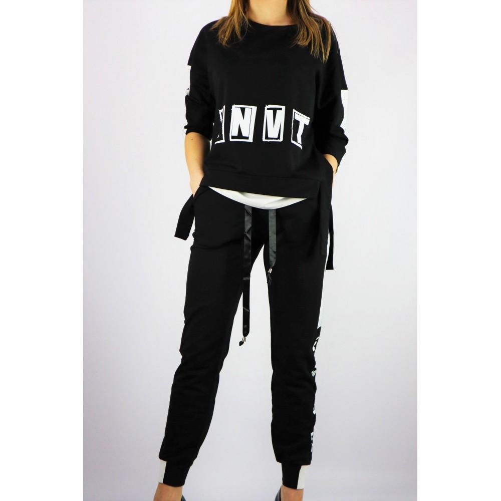 Czarny damski komplet dresowy bluza i spodnie z taśmami