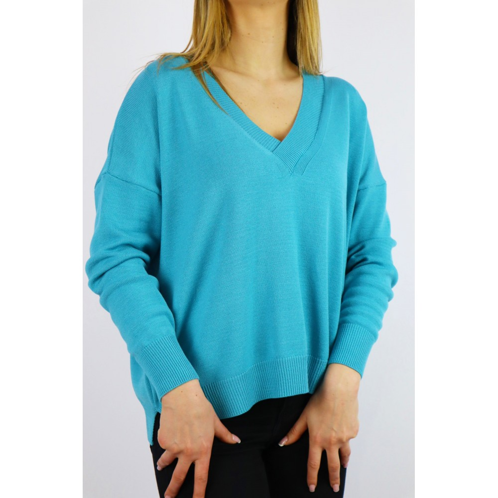 Sweter damski Cocomore oversize z dekoltem V niebieski
