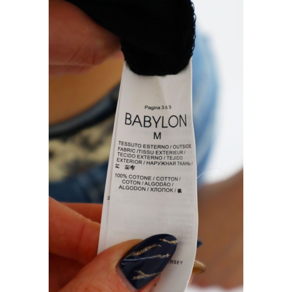 Czarny t-shirt damski BABYLON z dżetami