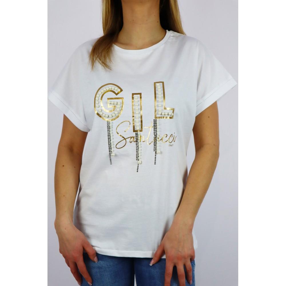 T-shirt damski Babylon ze złotymi napisami